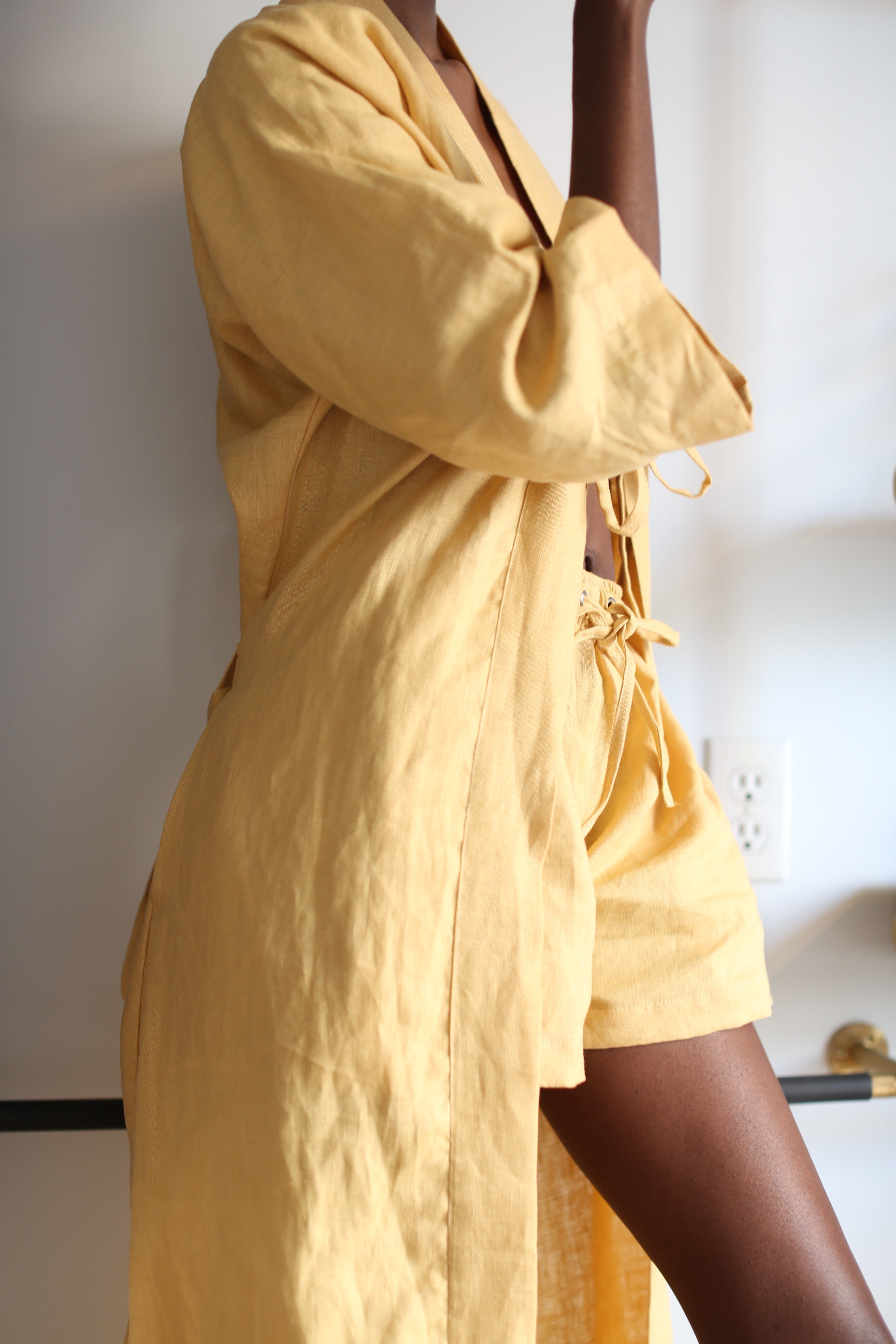 Gold Long Linen Robe Set with Shorts