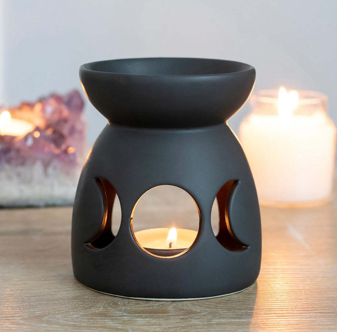 Black Triple Moon Cut Out Burner