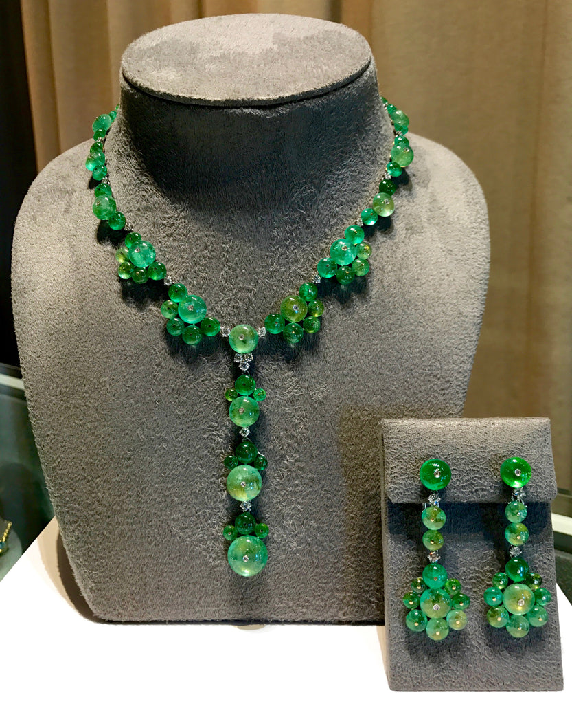 AF-JEWELERS-ROUND-CABOCHON-EMERALD-DIAMONDS-Y-NECKLACE-DROP-EARRINGS
