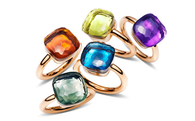POMELLATO-NUDO-STACKABLE-RINGS-CITRINE-PRASIOLITE-BLUE-TOPAZ-LEMON-AMETHYST-ROSE-GOLD