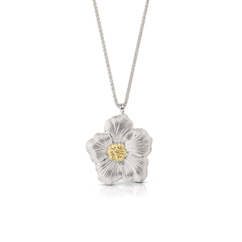 Buccellati - Blossoms Gardenia - Pendant Necklace, Sterling Silver with Gold Accents
