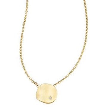 "Sandy Leong ""Origin"" Small Pendant Necklace with 1 Diamond, 18k Yellow Gold."