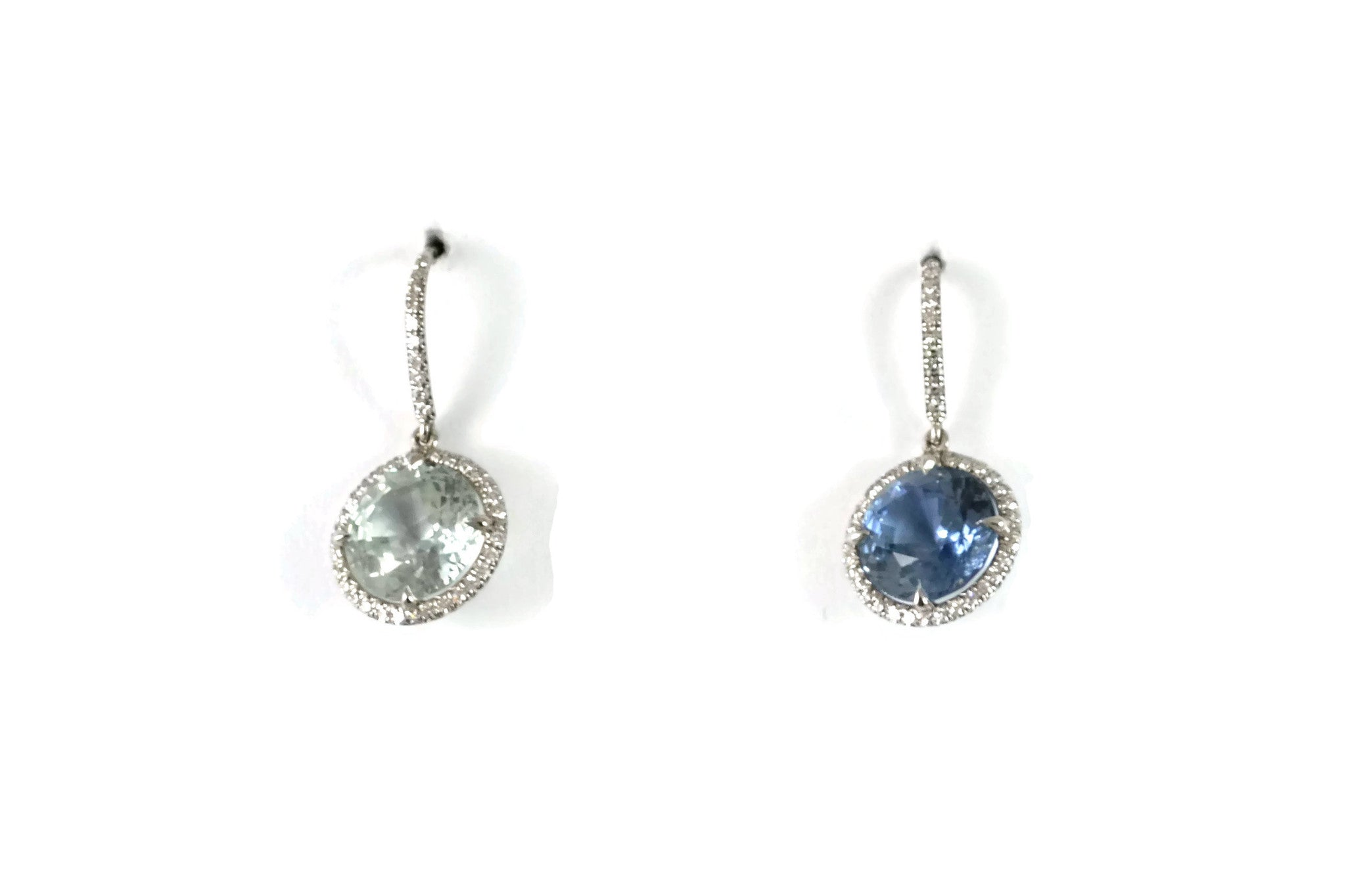 Eclat Drop Earrings with Natural Mismatched Sapphires and Diamonds, 18k White Gold.