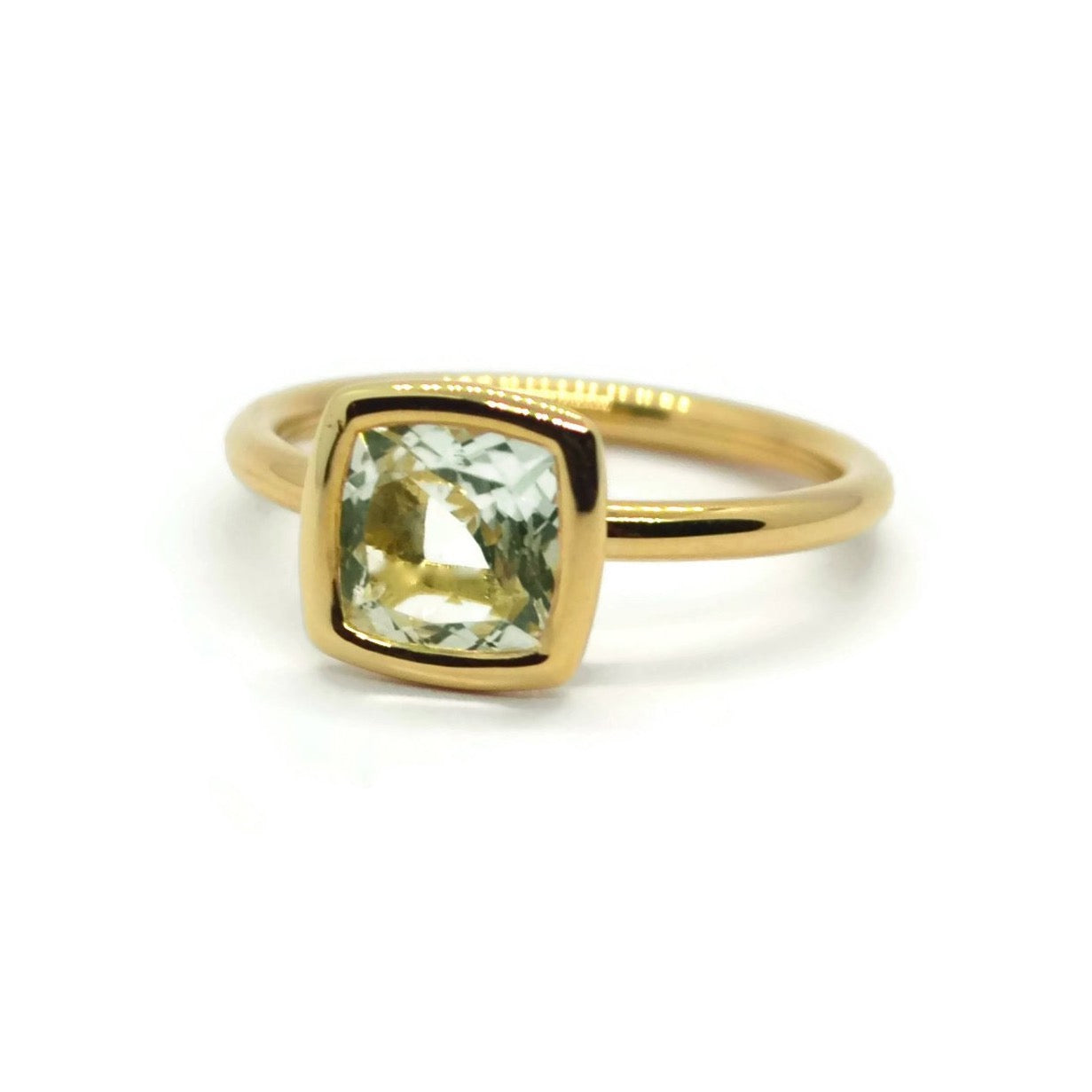 A & Furst - Gaia - Small Stackable Ring with Prasiolite, 18k Yellow Gold