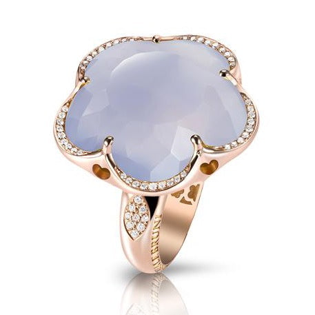 Pasquale Bruni - Bon Ton - Ring, 18K Rose Gold, Blue Chalcedony, Milky Quartz, and Diamonds
