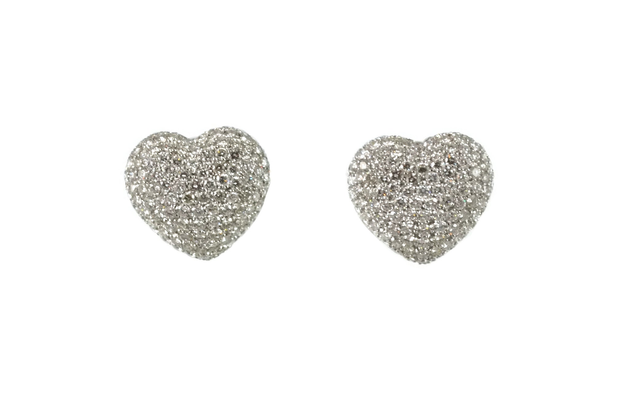 AF Collection Heart Pave Earrings with Diamonds, 18k White Gold.