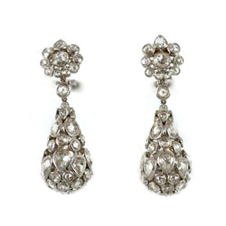Eclat Drop Earrings with Rose-cut Daimonds, 18k White Gold