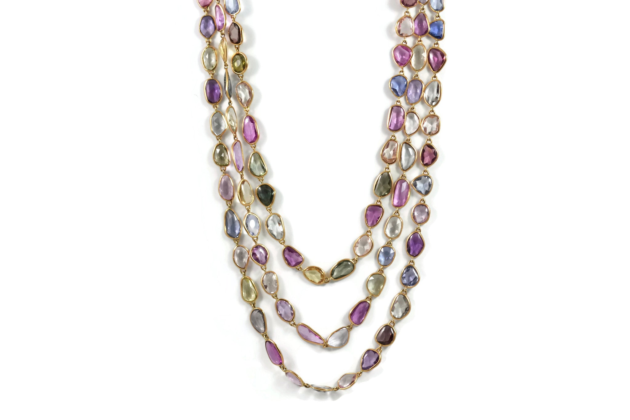 Eclat Multicolors Sapphires Necklace, 18k Rose Gold