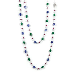 Eclat One of a Kind Necklace with Emeralds, Rubies, Sapphires and Diamonds.