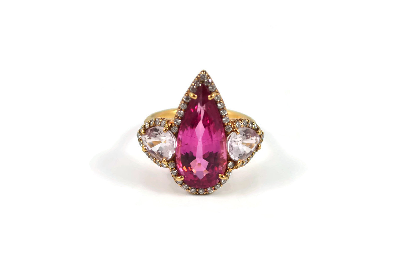 AF Collection One of Kind Rubellite, Morganite and Diamonds Ring, 18k Rose Gold.