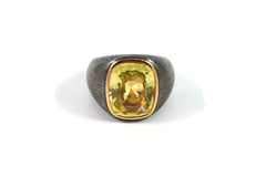 AF Jewelers One of Kind Cushion-cut Yellow Sapphire Ring.