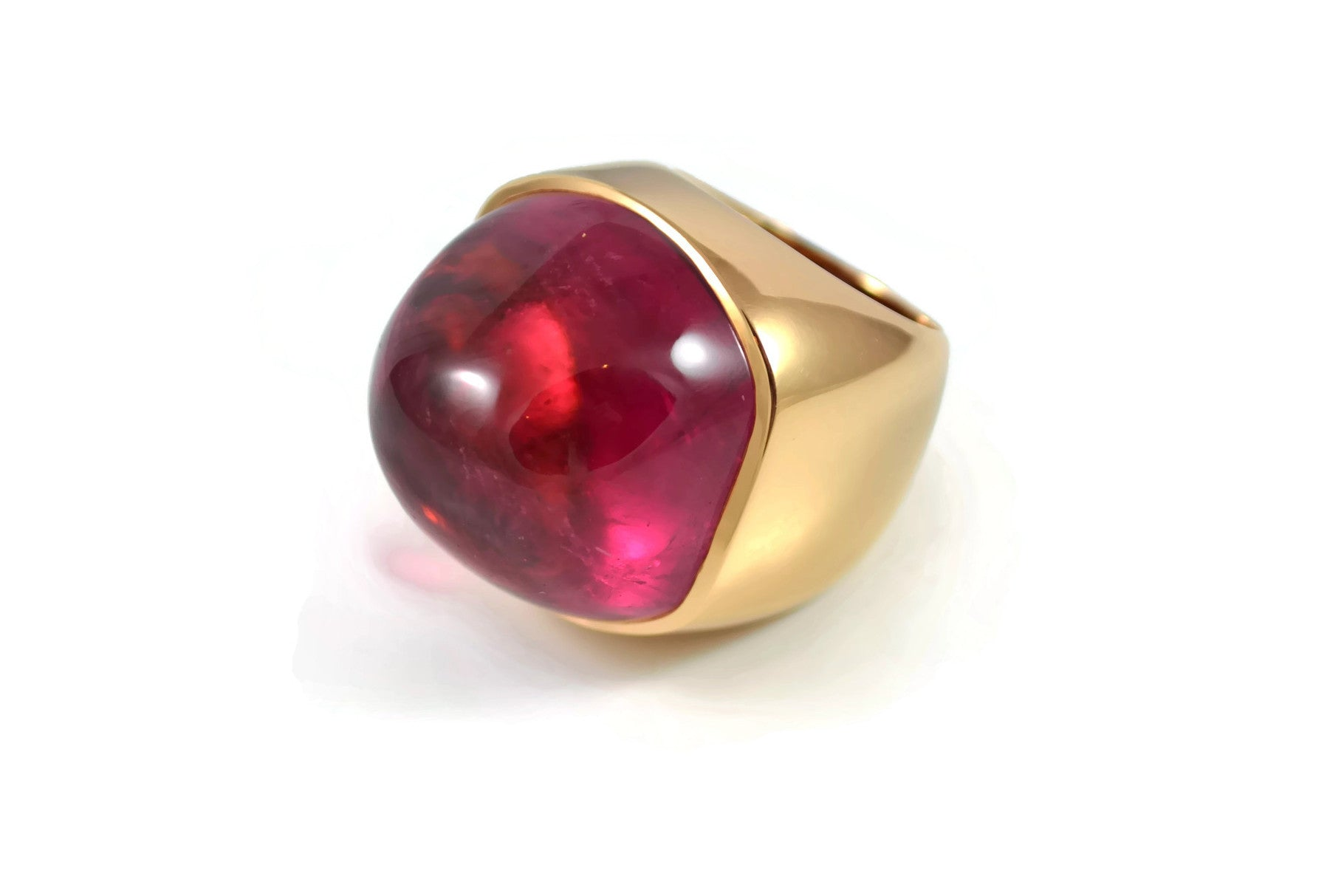 AF Collection One of a kind Ring with Large Cabochon Rubellite, 18k Rose Gold.