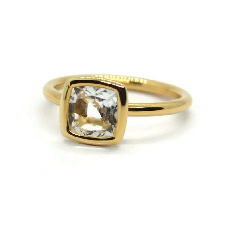 A & Furst - Gaia - Small Stackable Ring with White Topaz, 18k Yellow Gold