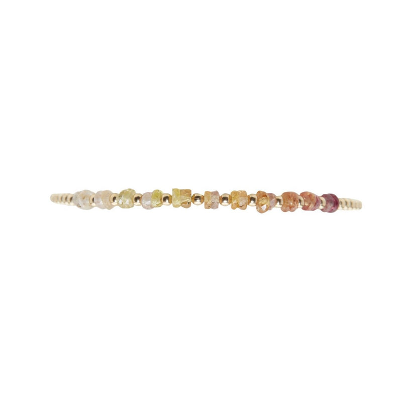 Karen Lazar  - 2 mm Yellow Gold Filled Bead Flex Bracelet with Sunrise Sapphire Ombre
