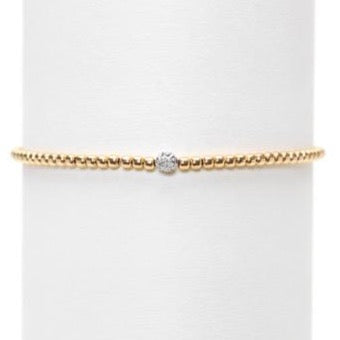 Karen Lazar - 2 mm Yellow Gold Filled Bead Flex Bracelet, Diamonds Bead