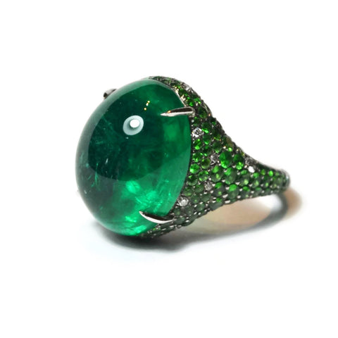 AF Jewelers - Ring with Cabochon Emerald, Tsavorite and Diamonds