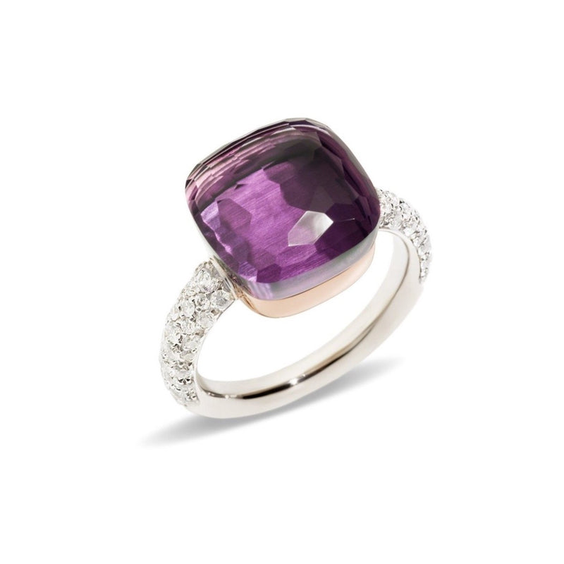 POMELLATO-NUDO-MAXI-RING-AMETHYST-DIAMONDS-WHITE-ROSE-GOLD