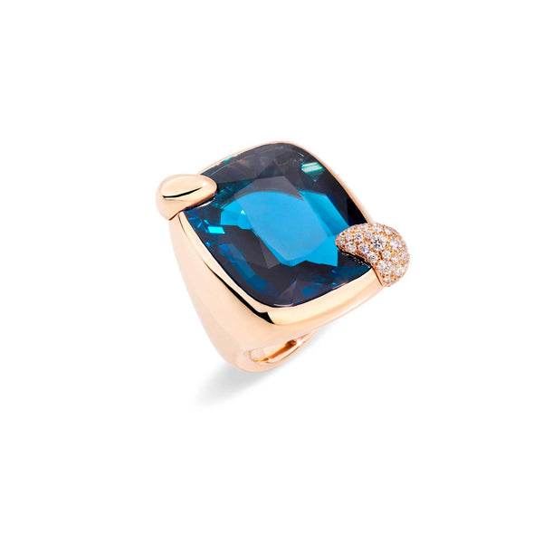 POMELLATO-RITRATTO-RING-LONDON-BLUE-TOPAZ-DIAMONDS-ROSE-GOLD