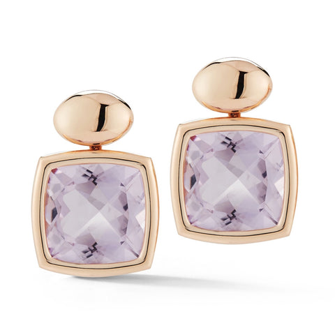 A & Furst - Gaia - Drop Earrings with Rose de France, 18k Rose Gold