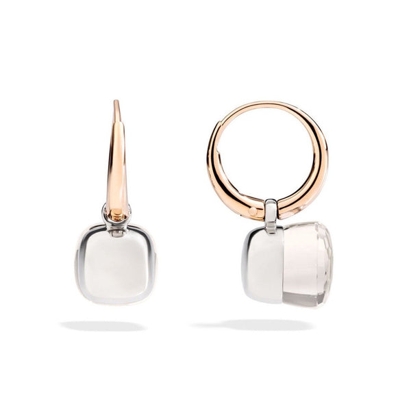 Pomellato - Nudo - Small Earrings with White Topaz, 18k Rose and White Gold