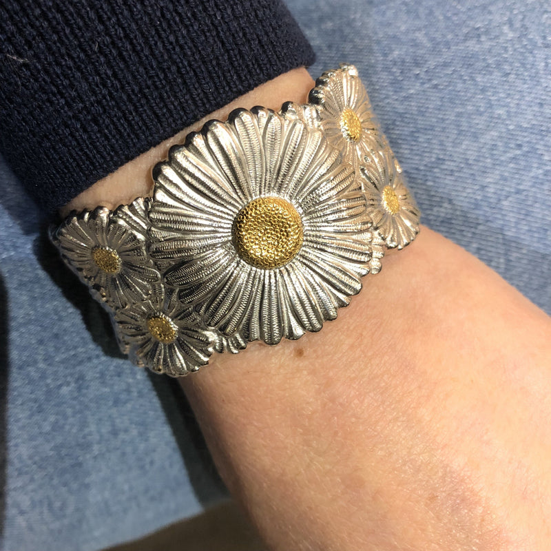 Buccellati - Blossoms Daisy - Cuff Bracelet, Sterling Silver with Gold Accents