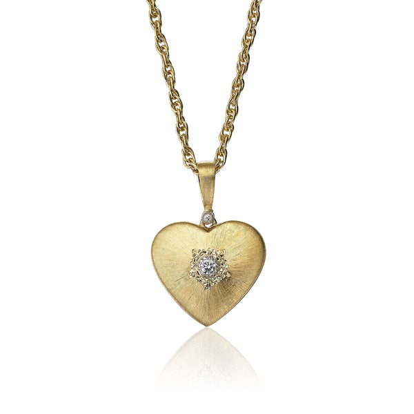 Buccellati - Macri Heart - Pendant Necklace with Diamonds, 18k Yellow Gold