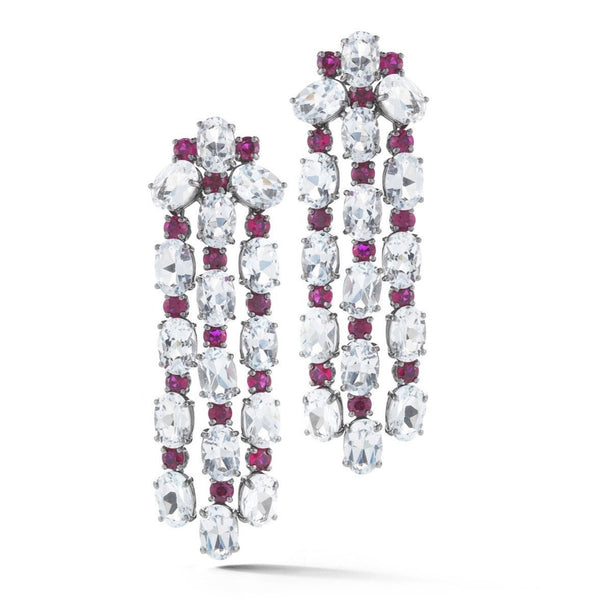 A & Furst - Nightlife - Chandelier Earrings with White Topaz and Rubies, 18k Blackened Gold