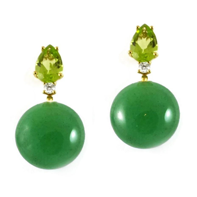 A & Furst - Bonbon - Drop Earrings with Aventurine Quartz, Peridot and Diamonds, 18k Yellow Gold