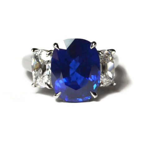 AF Collection One of a Kind Ring with Natural Color Ceylon Blue Sapphire and Diamonds, Platinum