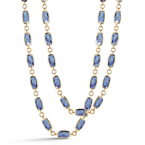 A & Furst - Gaia - Long Necklace with London Blue Topaz, 18k Yellow Gold