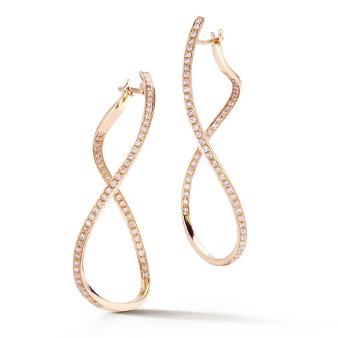 "A & Furst ""Aqua"" Large Hoop Earrings with Diamonds, 18k Rose Gold."
