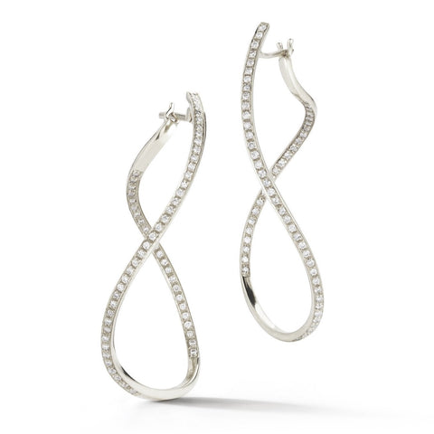 "A & Furst ""Aqua"" Large Hoop Earrings with Diamonds, 18k White Gold."