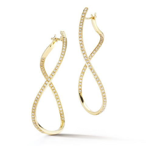 "A & Furst ""Aqua"" Large Hoop Earrings with Diamonds, 18k Yellow Gold."