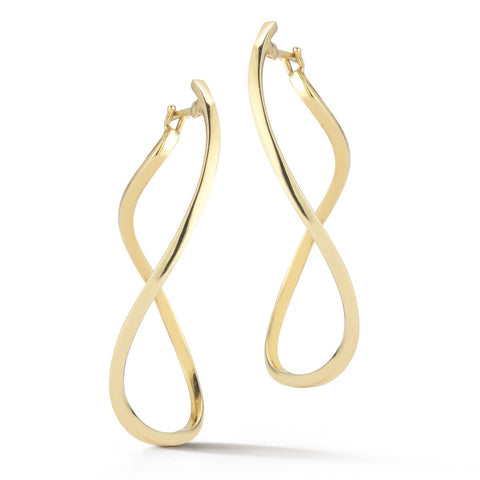 "A & Furst ""Aqua"" Large Hoop Earrings, 18k Yellow Gold."
