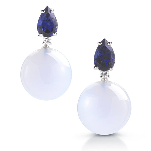 A & Furst - Bonbon - Earrings with Iolite, Chalcedony and Diamonds, 18k White Gold