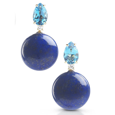 "A & Furst ""Bonbon"" Drop Earrings with Blue Topaz, Lapis Lazuli and Diamonds, 18k Yellow Gold."