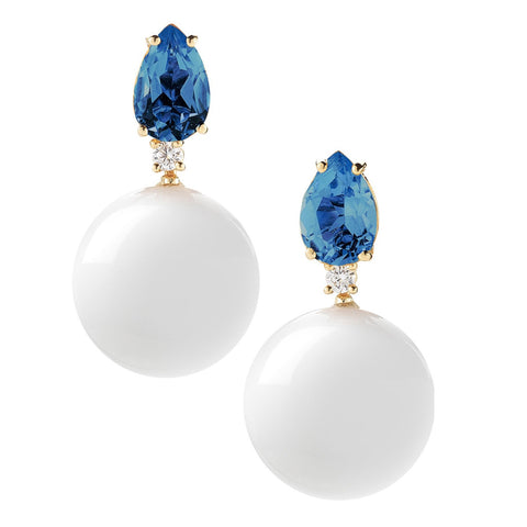 A & Furst - Bonbon Drop Earrings with London Blue Topaz, White Agate and Diamonds, 18k Yellow Gold