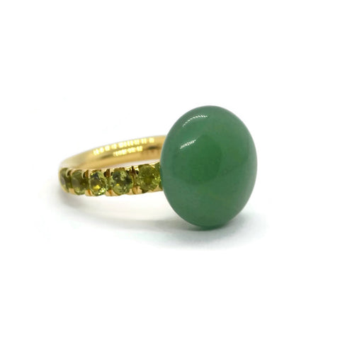 A & Furst - Bonbon Ring with Aventurine and Peridot, 18k Yellow Gold