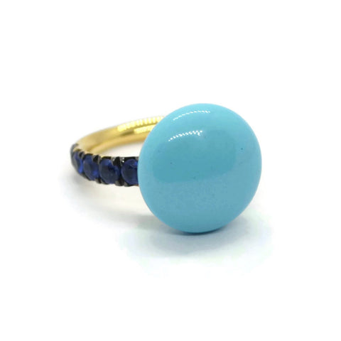 A & Furst - Bonbon Ring with Turquoise and Kyanite, 18k Yellow Gold