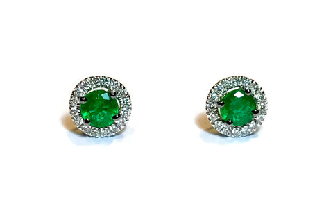 AF Jewelers - Bottoni - Stud Earrings with Emeralds and Diamonds