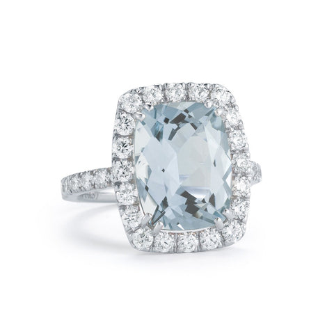 A & Furst - Dynamite - Cocktail Ring with Aquamarine and Diamonds, 18k White Gold.