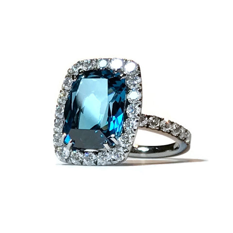"A & Furst ""Dynamite"" Cocktail Ring with London Blue Topaz and Diamonds, 18k Blackened Gold"