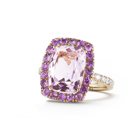 A & Furst - Dynamite - Cocktail Ring with Rose de France, Pink Sapphires and Diamonds, 18k Rose Gold