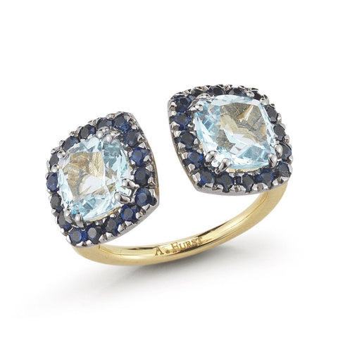 "A & Furst ""Dynamite"" Double Stones Ring with Blue Topaz and Blue Sapphires, 18k Yellow Gold and Black Rhodium."
