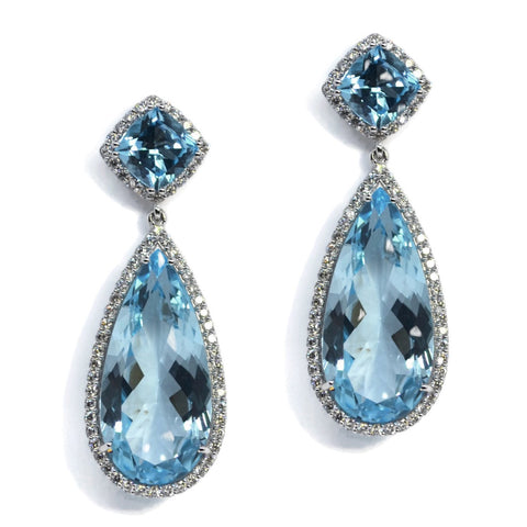 A & Furst - Dynamite - Drop Earrings with Blue Topaz and Diamonds, 18k White Gold