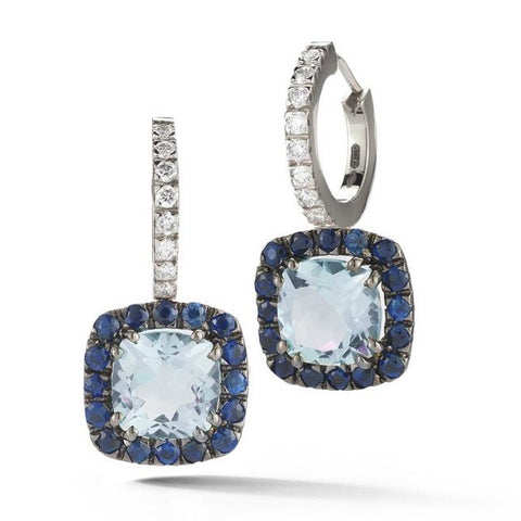 "A & Furst ""Dynamite"" Hoop  Earrings with Blue Topaz, Blue Sapphires and Diamonds, 18k Blackaned Gold."