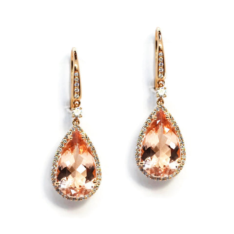 A & Furst - Dynamite - Drop Earrings with Morganite and Diamonds, 18k Rose Gold