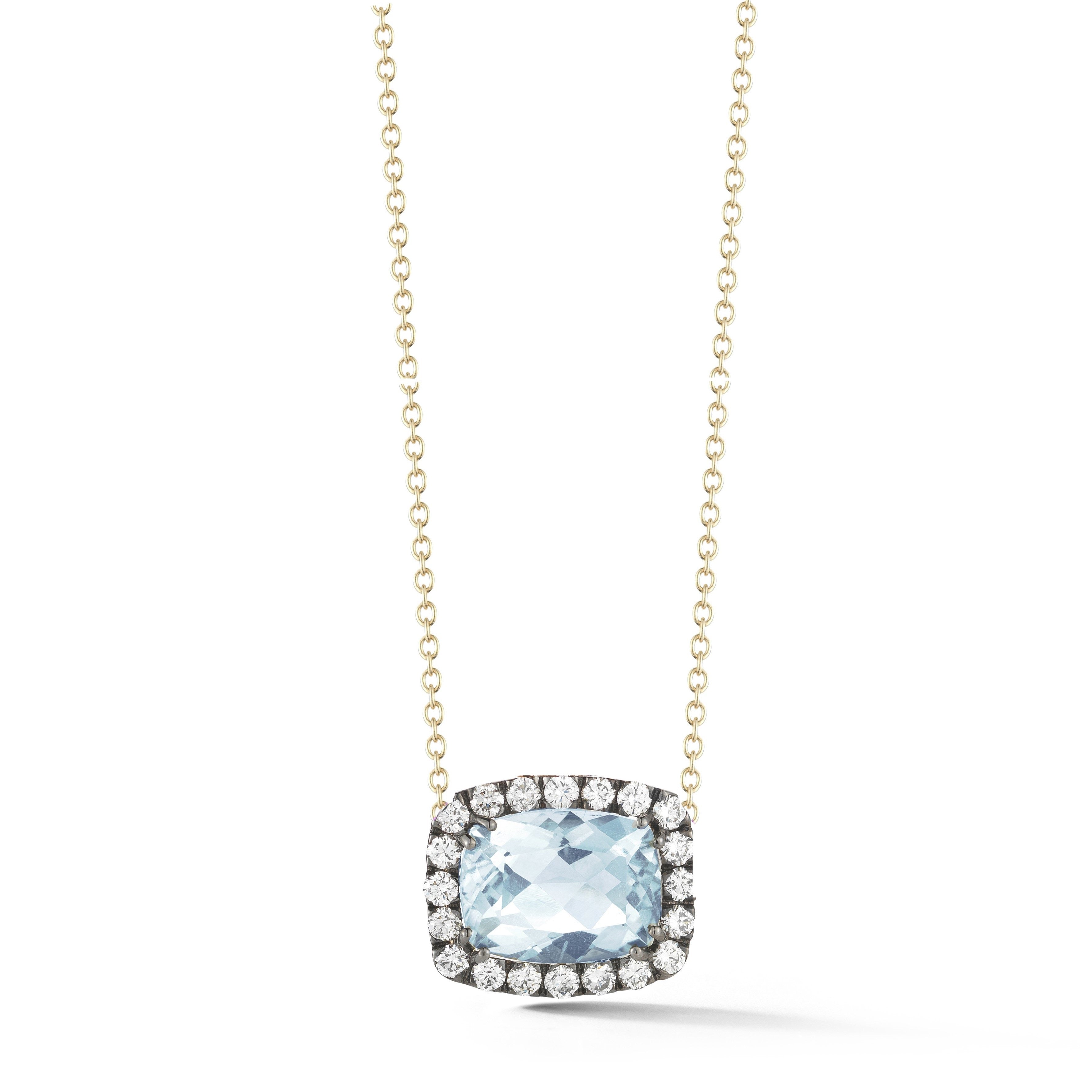 "A & Furst ""Dynamite"" Pendant Necklace with Blue Topaz and Diamonds, 18kYellow Gold and Black Rhodium."