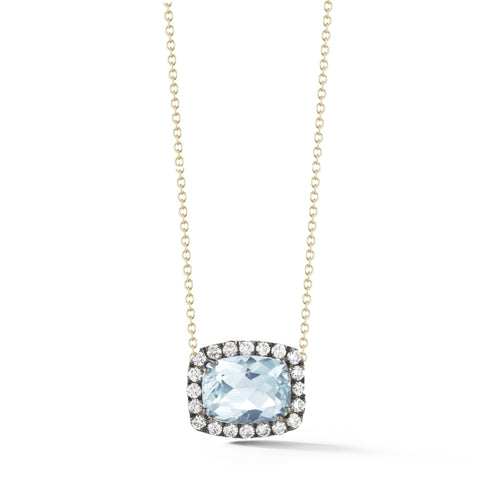 A & Furst - Dynamite - Pendant Necklace with Blue Topaz and Diamonds, 18kYellow Gold and Black Rhodium.