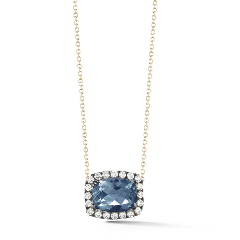 "A & Furst ""Dynamite"" Pendant Necklace with London Blue Topaz and Diamonds, 18k Yellow Gold and Black Rhodium"